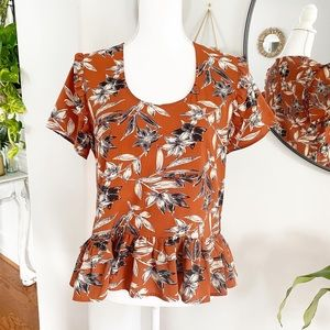 Lucca Couture Floral Peplum Top sz Small